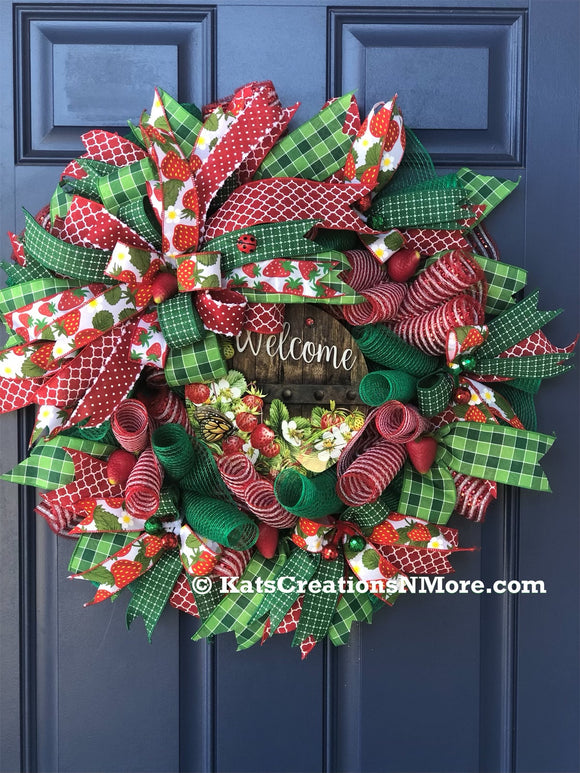 Strawberry Welcome Wreath, Front Door Decor,