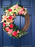 Tropical Island Floral Summer Wreath, Front Door Decor