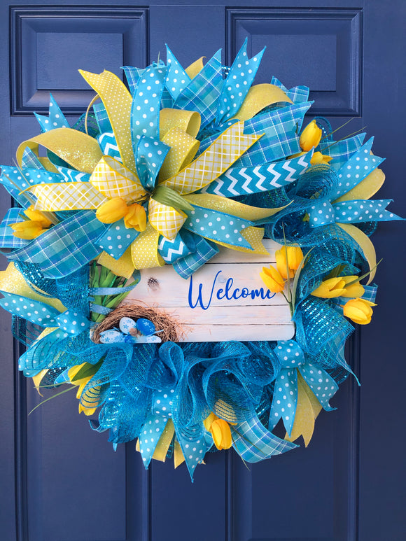 Spring Tulip Welcome Wreath, Easter Front Door Decor
