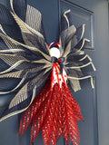 Patriotic Angel, Farmhouse Burlap Front Door Decoration