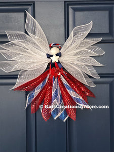 Patriotic Angel Wreath, Holiday Front Door Decor