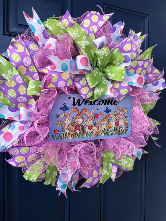Easter Bunny Welcome, Spring Front Door Decor