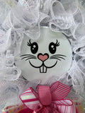 Easter Bunny Face Wreath, White Rabbit Front Door Decoration