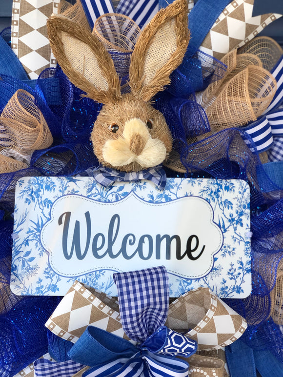 Blue Spring Bunny Gingham Welcome Wreath