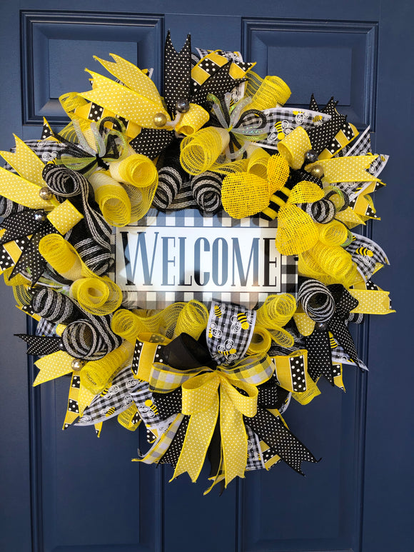 Spring Bee Welcome Wreath, Seasonal Front Door Decor