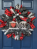 I Love Dogs Wreath, Dog Lover Front Door Decor, Pet Rescue Wall Hanging, Canine Decoration,