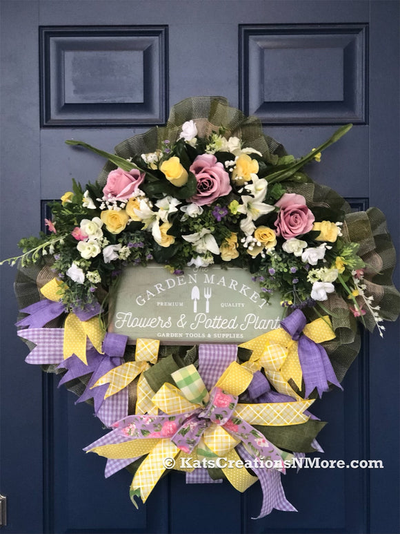 Spring Floral Wreath, Mother's Day Front Door Decor