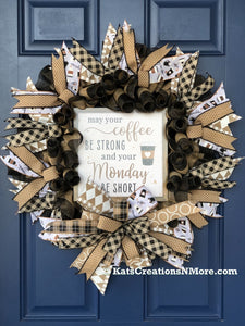 Coffee Wreath, A Gift for Her, Front Door Decor