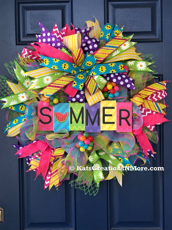 Summer Wreath, Sun Front Door Decor, Welcome Porch Decoration, Wall Hanging, Home Accent,