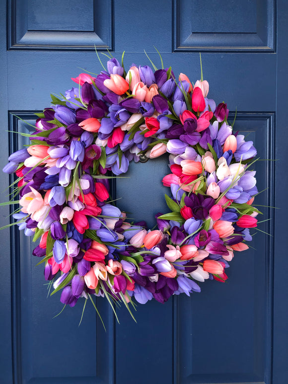 Spring Pastel Tulip Wreath, Floral Front Door Decor, Easter Centerpiece