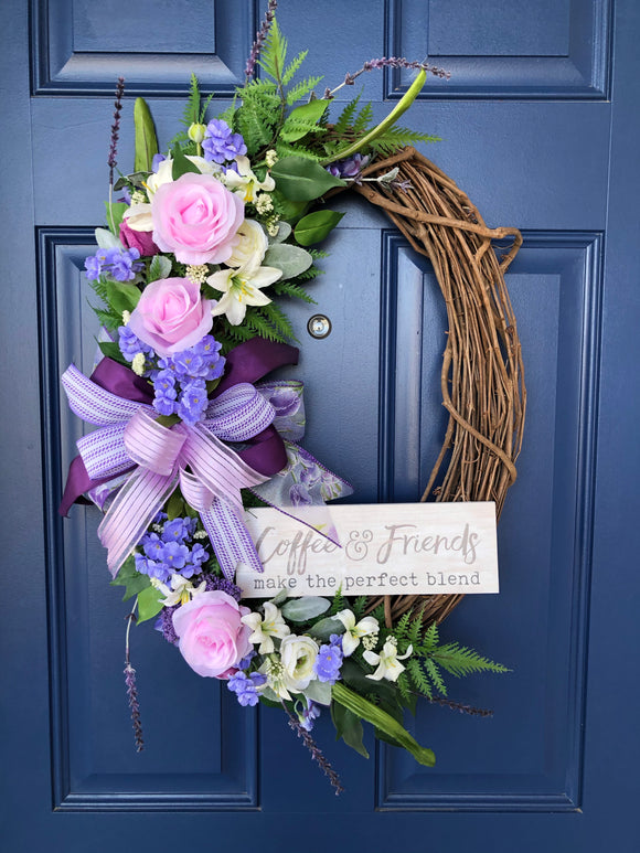 Rose Grapevine Friendship Wreath, Spring Floral Front Door Decor, Coffee Door Hanger, Gift for Her, Mother's Day Present, Kats Creations 777