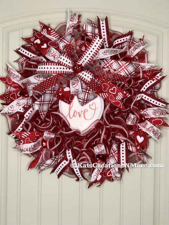 Valentines Day Love Heart Wreath, Seasonal Holiday Front Door Decor, Romance Wedding Decoration, Anniversary Door Hanger Kats Creations 777