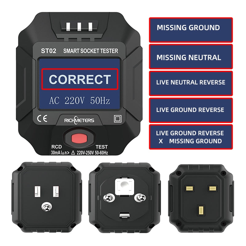 ST02 Smart Sockets Tester Digital AC Voltage Tester Ground Zero Electric Circuit Detector Line Plug Polarity Phase Pro EU/US/UK GFCI