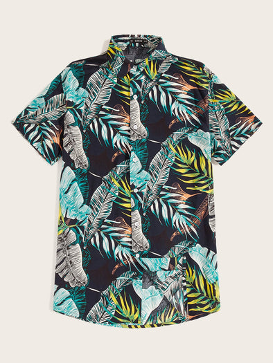 Men Curved Hem Jungle Leaf Print Aloha Shirt