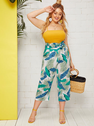 Plus Tropical Print Self Tie Paperbag Pants