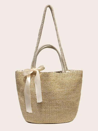 Bow Decor Woven Tote Bag