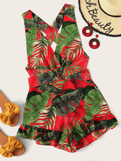 Crisscross Knot Back Ruffle Trim Tropical Romper