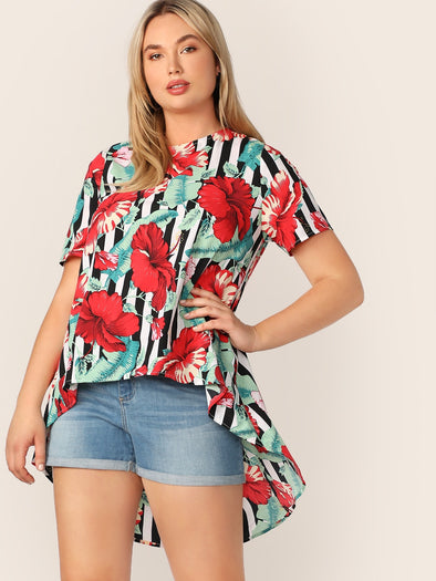 Plus Asymmetrical Hem Tropical & Stripe Print Top