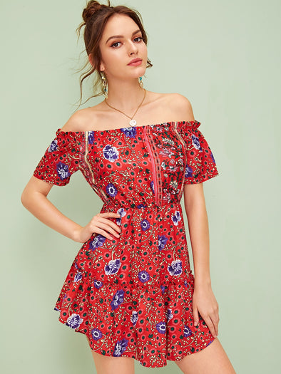 Aztec Print Off The Shoulder Ruffle Hem Dress