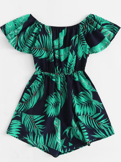 Plus Off Shoulder Palm Tree Print Romper