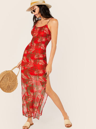Slit Side Leaf Print Cami Dress