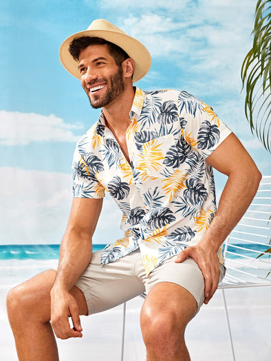 Men Tropical Print Curved Hem Shirt