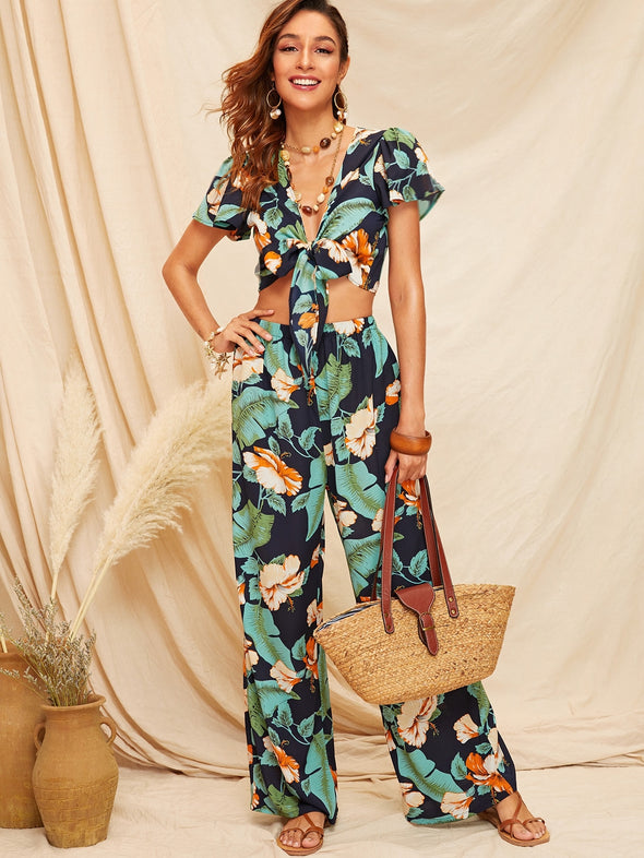 Tropical Print Knotted Crop Top & Wide Leg Pants Set