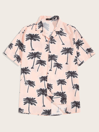 Men Revere Collar Aloha Shirt