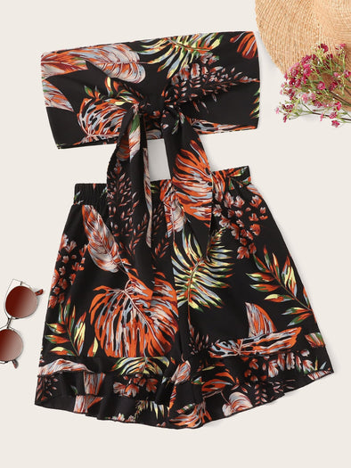 Tropical Print Tie Front Bandeau With Shorts FS