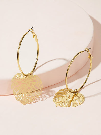 Ring Hollow Out Leaf Drop Earrings 1pair