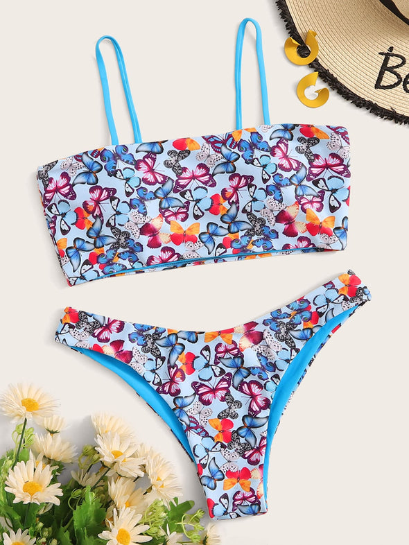 Floral Top With Cut Out Bikini Set