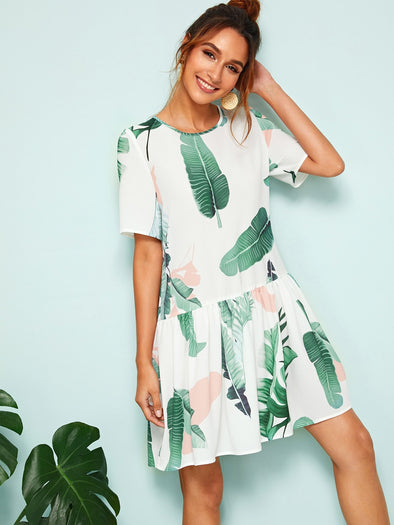Button Back Ruffle Hem Tropical Print Dress