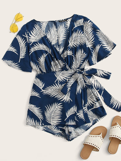 Wrap Belted Tropical Print Romper FS