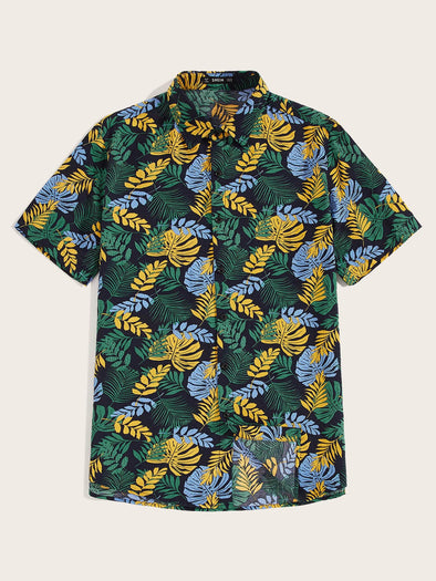 Men Tropical Print Aloha Shirt