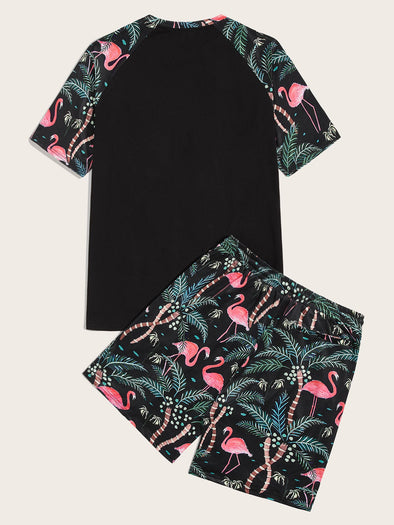 Men Tropical Print Raglan Sleeve Top & Shorts Set