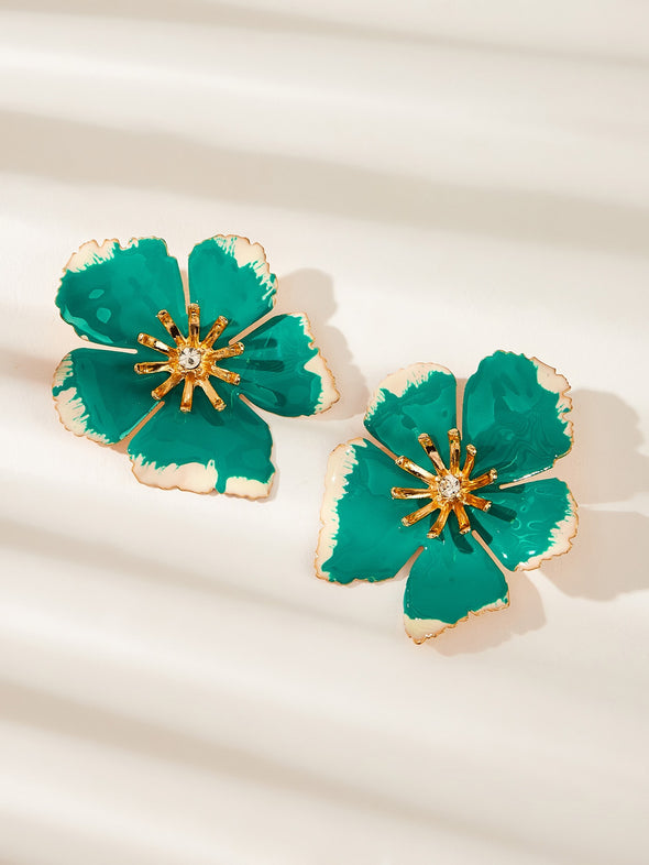 Flower Design Stud Earrings 1pair