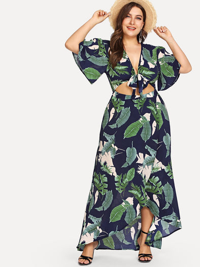 Plus Knot Front Cutout Midriff Tropical Dress