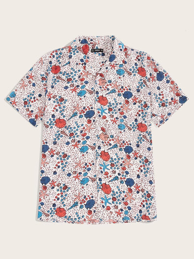 Men Shell & Starfish Print Shirt