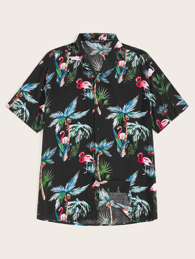 Men Flamingo & Coconut Tree Print Aloha Shirt