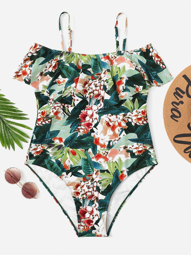 Plus Floral Print Flounce One Piece Swimsuit