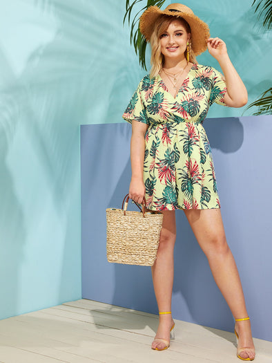 Plus Surplice Front Palm Tree Print Romper