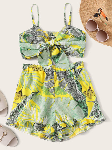 Tropical Print Tie Front Shirred Cami Top With Shorts