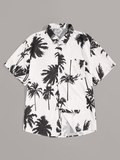 Men Coconut Trees Print Curved Hem Shirt
