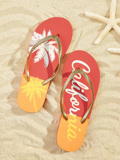 Letter & Palm Tree Print Toe Post Slippers