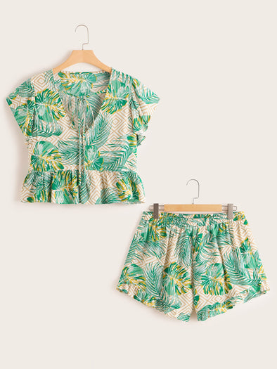 Plus Tropical Print Peplum Blouse & Shorts