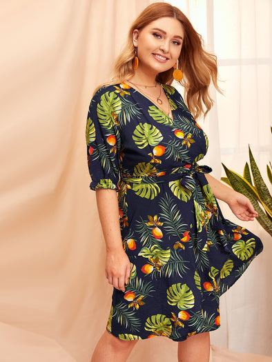 Plus Palm Tree Print Wrap Self Tie Dress