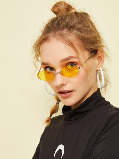 Rimless Irregular Lens Sunglasses