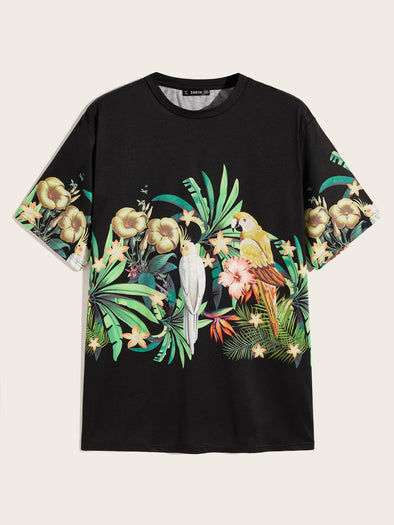 Men Tropical and Parrot Print Tee