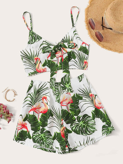 Flamingo Print Tie Neck Cami Top With Shorts FS