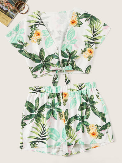Plus Floral Print Knot Top With Shorts